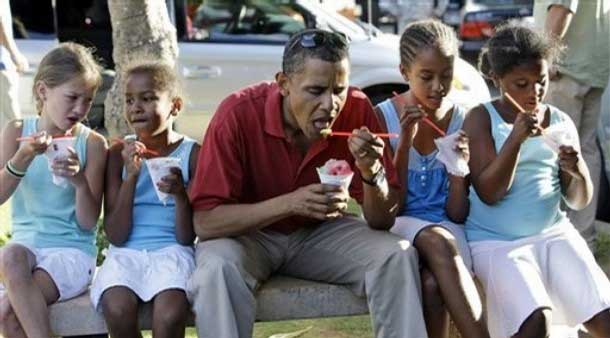 President Obama Sharing Shaved Ice on Oahu